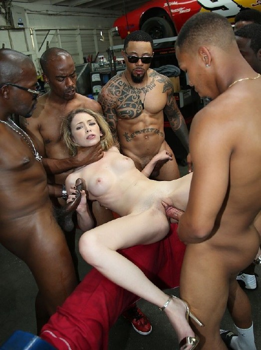 Hot blonde black gangbang